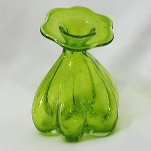 Hand Blown Green Glass Vase